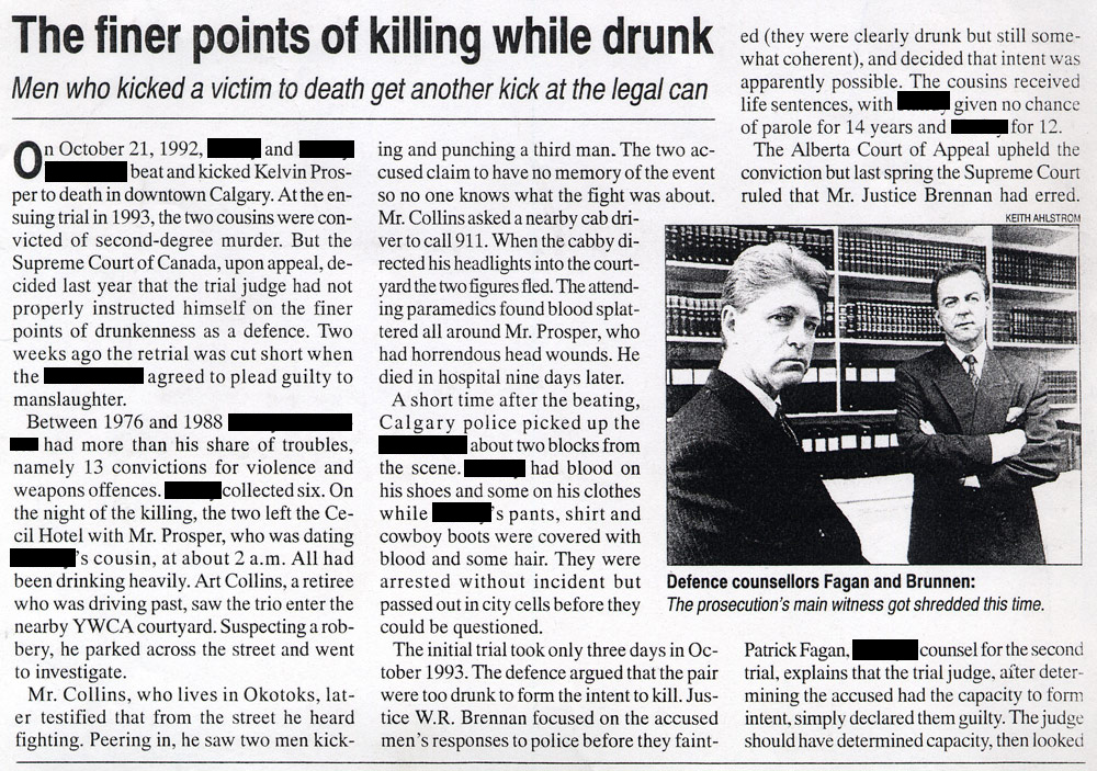 Homicide: The finer points of killing while drunk