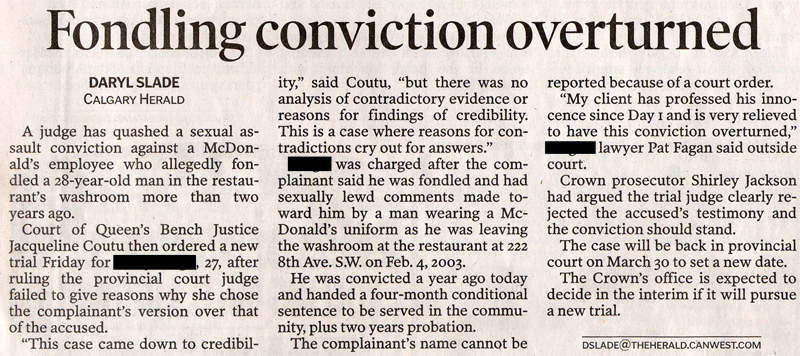 Assault Offences: Fondling Conviction Overturned