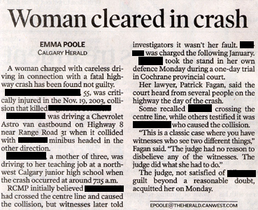 Driving Offence: Woman Cleared in Crash
